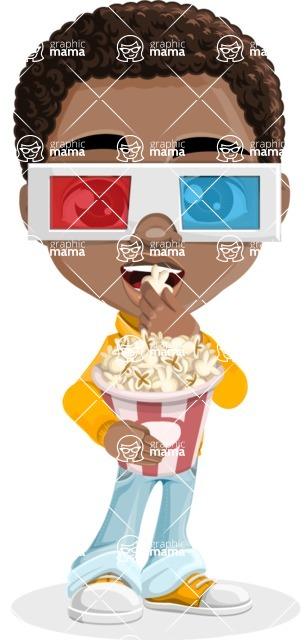 African American School Boy Cartoon Vector Character AKA Jorell - 3D Glasses