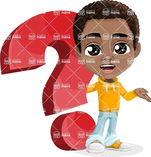 African American School Boy Cartoon Vector Character AKA Jorell - Question