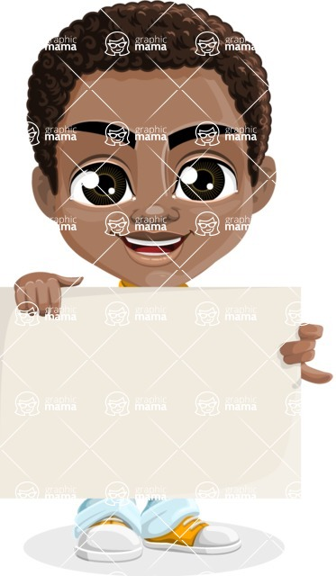 African American School Boy Cartoon Vector Character AKA Jorell - Sign 2