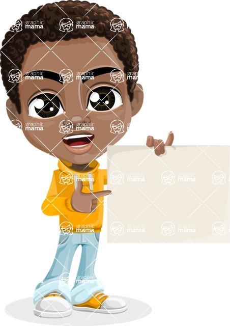 African American School Boy Cartoon Vector Character AKA Jorell - Sign 3