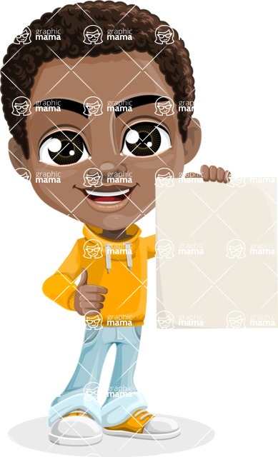 African American School Boy Cartoon Vector Character AKA Jorell - Sign 4