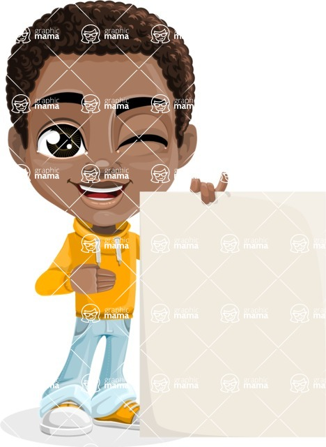 African American School Boy Cartoon Vector Character AKA Jorell - Sign 8