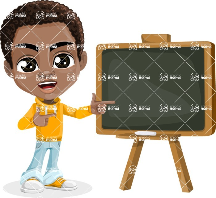 African American School Boy Cartoon Vector Character AKA Jorell - Presentation 1