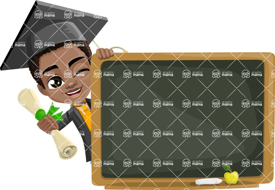 African American School Boy Cartoon Vector Character AKA Jorell - Presentation 3