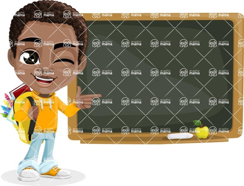 African American School Boy Cartoon Vector Character AKA Jorell - Presentation 4