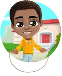 African American School Boy Cartoon Vector Character AKA Jorell - Shape 1