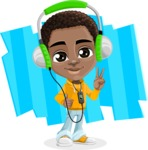 African American School Boy Cartoon Vector Character AKA Jorell - Shape 8