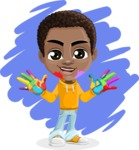 African American School Boy Cartoon Vector Character AKA Jorell - Shape 9
