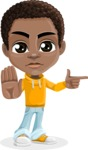 African American School Boy Cartoon Vector Character AKA Jorell - Direct Attention