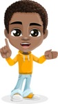 African American School Boy Cartoon Vector Character AKA Jorell - Direct Attention 2