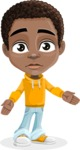 African American School Boy Cartoon Vector Character AKA Jorell - Stunned