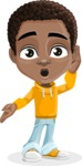 African American School Boy Cartoon Vector Character AKA Jorell - Shocked
