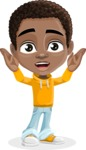 African American School Boy Cartoon Vector Character AKA Jorell - Confused