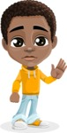 African American School Boy Cartoon Vector Character AKA Jorell - Goodbye