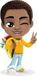 African American School Boy Cartoon Vector Character AKA Jorell - Backpack