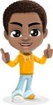 African American School Boy Cartoon Vector Character AKA Jorell - Thumbs Up