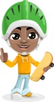 African American School Boy Cartoon Vector Character AKA Jorell - Sketeboard