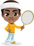 African American School Boy Cartoon Vector Character AKA Jorell - Tennis