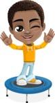 African American School Boy Cartoon Vector Character AKA Jorell - Trampoline