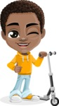 African American School Boy Cartoon Vector Character AKA Jorell - Scooter