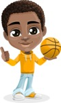 African American School Boy Cartoon Vector Character AKA Jorell - Basketball