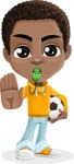 African American School Boy Cartoon Vector Character AKA Jorell - Soccer