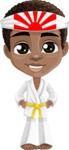 African American School Boy Cartoon Vector Character AKA Jorell - Karate