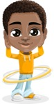 African American School Boy Cartoon Vector Character AKA Jorell - Hoop