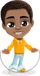 African American School Boy Cartoon Vector Character AKA Jorell - Skipping Rope