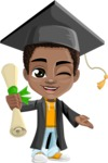 African American School Boy Cartoon Vector Character AKA Jorell - Graduate