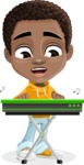 African American School Boy Cartoon Vector Character AKA Jorell - Music 1