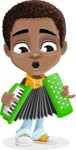 African American School Boy Cartoon Vector Character AKA Jorell - Music 2