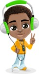 African American School Boy Cartoon Vector Character AKA Jorell - Music 3