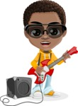 African American School Boy Cartoon Vector Character AKA Jorell - Music 4