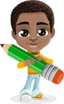 African American School Boy Cartoon Vector Character AKA Jorell - Pencil