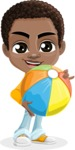 African American School Boy Cartoon Vector Character AKA Jorell - Beach 1