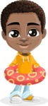African American School Boy Cartoon Vector Character AKA Jorell - Beach 2