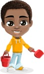 African American School Boy Cartoon Vector Character AKA Jorell - Beach 3