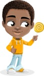 African American School Boy Cartoon Vector Character AKA Jorell - Candy
