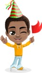 African American School Boy Cartoon Vector Character AKA Jorell - Party 1