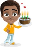 African American School Boy Cartoon Vector Character AKA Jorell - Party 2