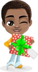 African American School Boy Cartoon Vector Character AKA Jorell - Gift
