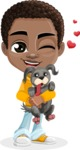 African American School Boy Cartoon Vector Character AKA Jorell - Puppy
