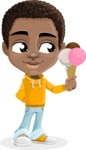 African American School Boy Cartoon Vector Character AKA Jorell - Ice Cream