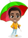 African American School Boy Cartoon Vector Character AKA Jorell - Umbrella