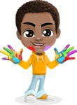 African American School Boy Cartoon Vector Character AKA Jorell - Fingerpainting