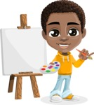 African American School Boy Cartoon Vector Character AKA Jorell - Painting