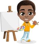 African American School Boy Cartoon Vector Character AKA Jorell - Painting
