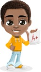 African American School Boy Cartoon Vector Character AKA Jorell - Score