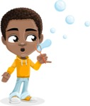 African American School Boy Cartoon Vector Character AKA Jorell - Soap Bubbles